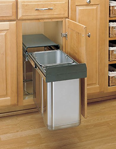 Double Bottom Mount Covered Stainless Steel Waste Containers - 8-785-30-2SS - 30 LTR - Chrome / Stainless Steel
