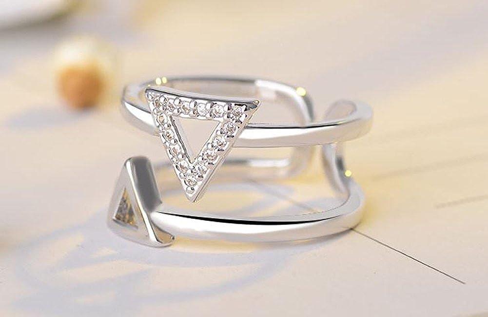Stampa 1/pcs anello moda aperto anello bianco progettazione di triangolo diamante cristallo anelli principessa Argento Anelli Ragazze di donne gioielli accessori amante regalo