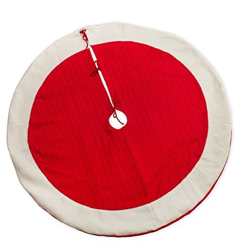 (56 inch Red Wide Cable Knit Plush Christmas Tree Skirt with White Border)