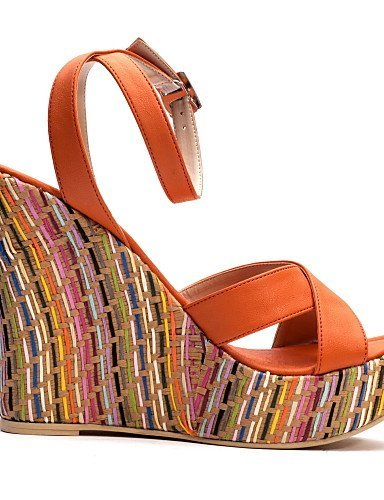 ShangYi Tasteful PU Peep Toe Wedges Sandals with Buckle Casual Shoes(More Colors) Almond roEQOnY8sd