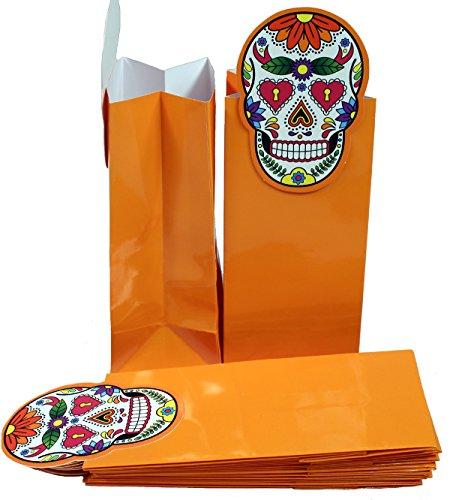 Creative Hobbies Glossy Coated Paper Treat Goody Bags, 6.5 x 3 Inch, Halloween Orange with Sugar Skull, Pack of 12 Bags -