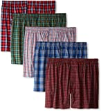 Hanes Men's Tartan Boxers with Comfort Flex Waistband 5-Pack, Assorted, M