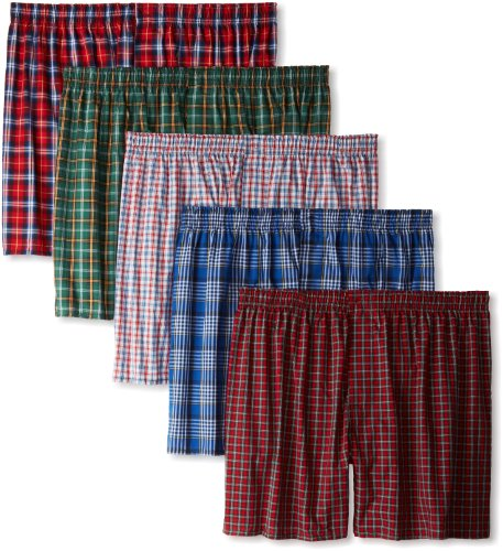 Hanes Men's Tartan Boxers with Comfort Flex Waistband 5-Pack, Color May Vary, - Shorts Flannel Boxer