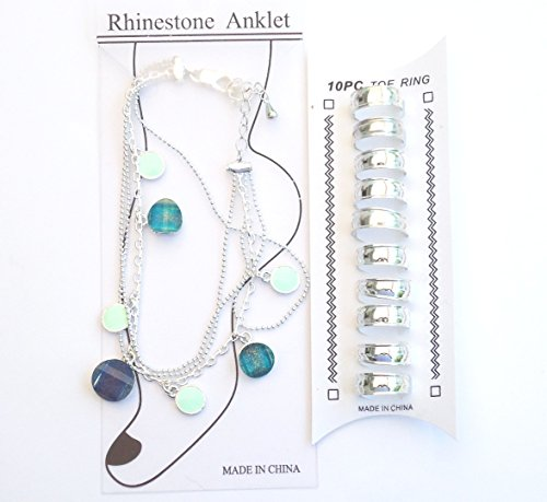 (Sterling Silver and Multicolor Jade Anklet Chain and Ten Matching Toe Rings)