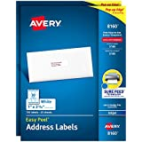 """Avery Address Labels with Sure Feed for Inkjet Printers, 1"""" x 2-5/8"""", 1,500 Labels, Permanent Adhesive (2 packs 8160)"""