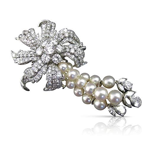 Milano Jewelers Large David WEBB 21.31CT Diamond & South SEA Pearl Platinum Brooch Necklace -