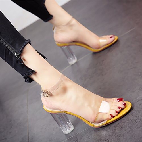 YMFIE Verano Europeo Sexy Toe áspero y Moda Exterior Confortables Sandalias Damas Zapatos de tacón Alto Temperamento b