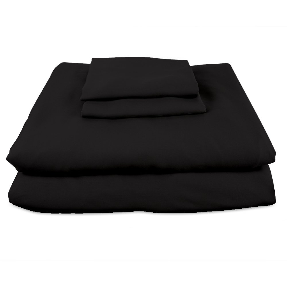 Bamboo Sheets INTERNATIONAL Premium 100% viscose bamboo sheet set in Queen Black. BSI-Q-Blk. luxury bamboo bed sheets with deep pocket design are the perfect pillow top mattress sheets.
