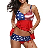 Women Stars Beach American Flag Print Bathing Surfing Swimwear Suit Plus Size XL