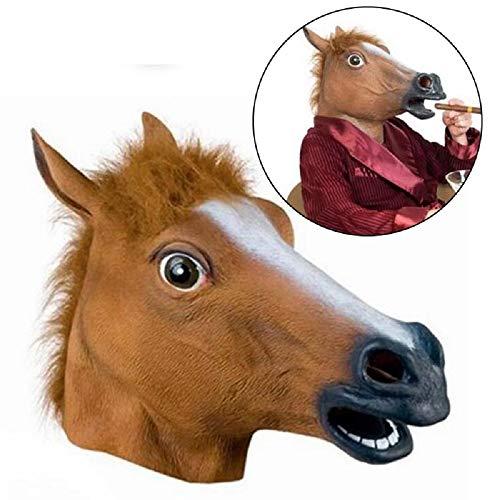 CARESHINE Halloween Animal Mask, Halloween Horse Head Latex Mask Novelty Halloween Costume Party Animal Head -