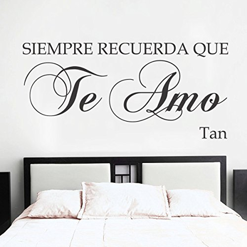 Spanish Vinyl Espanol Wall Decal-¡Siempre Recuerda Que Te Amo ¡¯-Always Remember That I Love You-Love Quote Romantic Quote Baby Nursery Decor Home Decor Room Art (Small,Black)