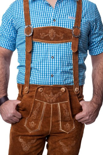 Lederhosen Leather Shorts Oktoberfest Trachten Bavarian Light Brown Size 56