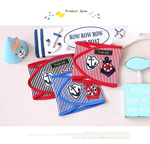 Stock Show 3Pcs Fashion Cotton Striped Anchor Pattern Pet Male Dog Belly Band Wrap with Velcro, Washable Reusable Boy Puppy/Doggie Diapers Health Pants, Red+Blue+Black