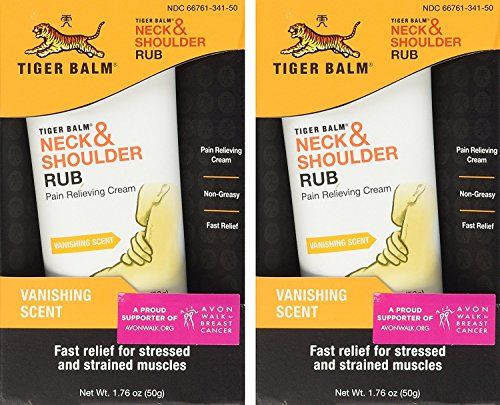 Tiger Balm Neck & Shoulder Rub Vanishing Scent 1.76 oz (Pack of 2) (Tension Balm Relief)
