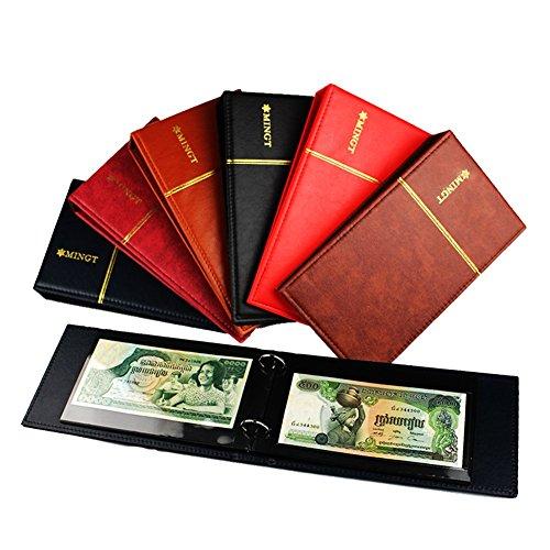 Sello Album Banknote - Carpeta de 2 anillas (piel sintética, 10 hojas transparentes), Marrón