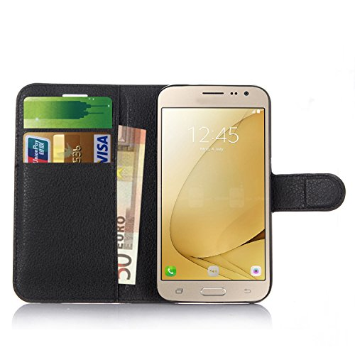Samsung Galaxy J2 Pro Case , Anzhao Premium PU Leather Wallet Flip Cover  Case With KickStand and Card Slots for Samsung Galaxy J2 Pro (Black)