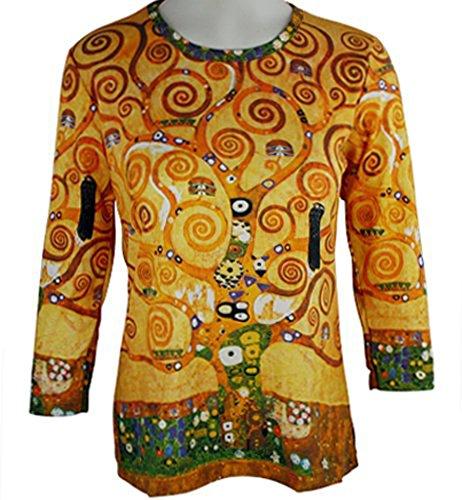 Breeke & Company Gustav Klimt - Tree of Life, 3/4 Sleeve, Printed Cotton Top...