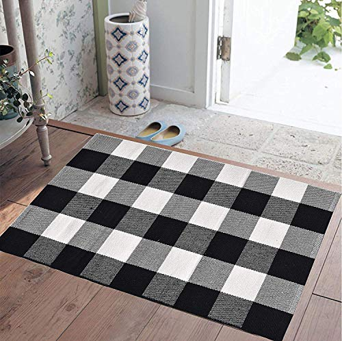 Ecoshome Cotton Bath Runner Checkered Plaid Area Rug Door Mat for Entry Way Washable Carpet for Kitchen (24
