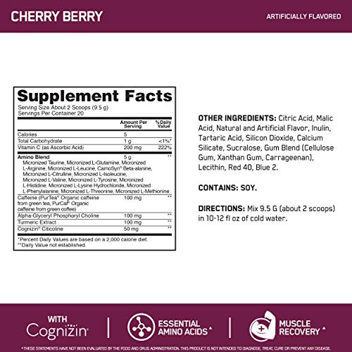 Optimum Nutrition Essential Amino Energy Advanced Plus Metabolism and Focus Support, Cherry Berry, 20 Servings