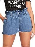Romwe Women's Plus Size Casual Raw Hem Summer Denim Shorts with Pocket Blue 3XL