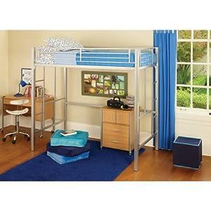 Youzee Metal loft Twin Bed, Multiple Colors (Silver)