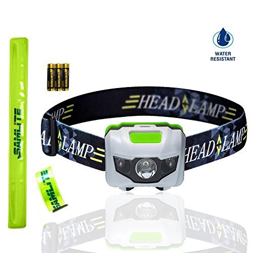 (BEST LED Headlamp, 4 Modes, Bright White Light With Red Light, Super Bright, Water Resistant, Perfect For Kids & Adults, Get 2 Free Wristband Reflector, 3AAA Batteries Included (WHITE/GREEN)- SAMLITE)