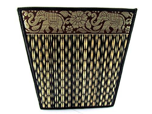 Midnight Elephants (Small Decorative Wicker Elephant Paper Waste Basket Bin For Office Bedroom Bathroom Car 8