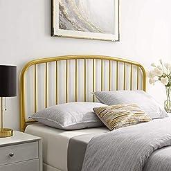 Bedroom Modway Nova Modern Farmhouse Metal Twin Headboard in Gold farmhouse headboards