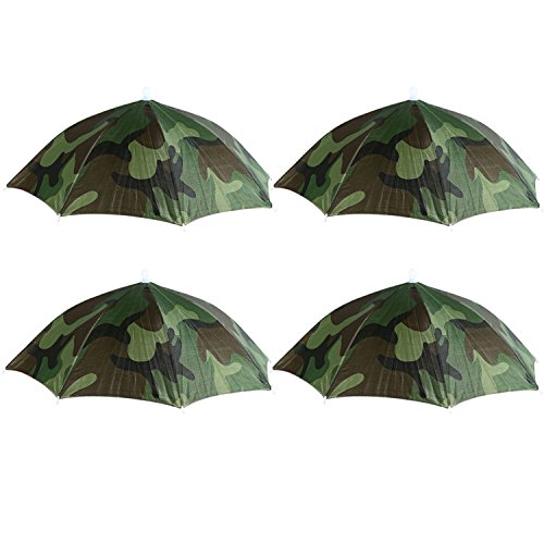 4 Pack CAMO Umbrella Hat Cap Hands Free with Head Strap for Sun Rain