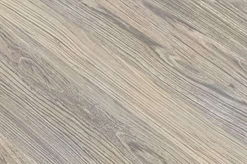 Novogratz Leo Farmhouse Round Dining Table with Sleek Slanted Metal Legs and Grey Wood Veneer Table Top