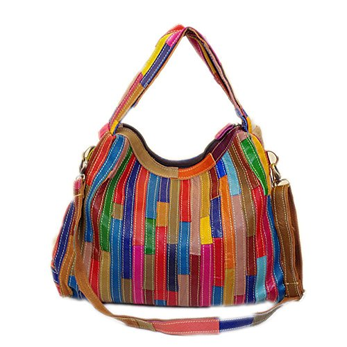 Colorful Rainbow Leather Handbag