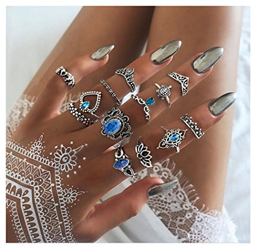 Set Crown Ring - Dream Date 21 Crown Style Blue Gem Mounted Carving Party&Pub Night Club Knuckle Band Ring Set(Pack of 13)