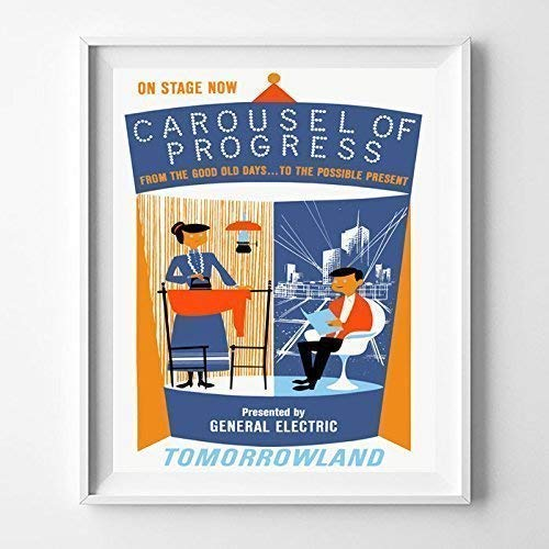 - Disneyland Carousel Of Progress Tomorrowland Wall Art Poster Home Decor Print Vintage Artwork Reproduction - Unframed