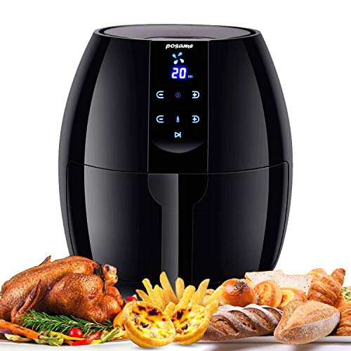 Posame Air Fryer Electric Digital Programmable Hot Air Fryers (1500W-4.2QT)-LCD Digital Touch Screen Deep Fryer for Healthier Crisp Foods with Anti-scratch and Easy Clean Design, Auto Off and Memory Function