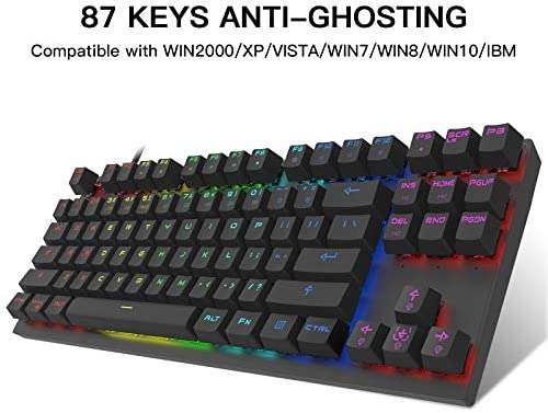MOTOSPEED PROFESSIONAL GAMING MECHANICAL KEYBOARD RGB RAINBOW BACKLIT 87 KEYS ILLUMINATED COMPUTER USB GAMING KEYBOARD FOR MAC & PC BLACK