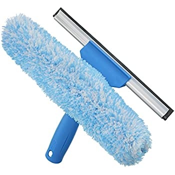 Unger Professional Microfiber Window Combi: 2-in-1 Professional Squeegee and Window Scrubber, 10""