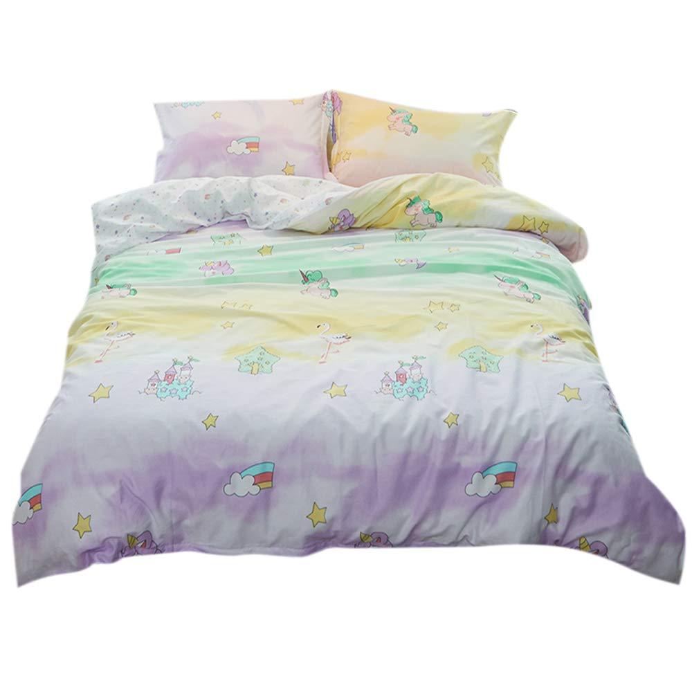 FenDie Twin Girls Purple Green Yellow Ombre Duvet Cover Set Cotton Reversible Kids Cartoon Bedding with Hidden Zipper Closure 4 Corner Ties