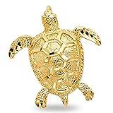 Turtle Pendant Solid 14k Yellow Gold Charm Diamond Cut Sea Animal Design Genuine 31 x 28 mm