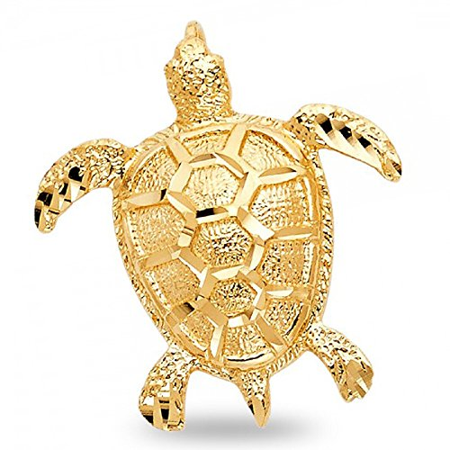 Turtle Pendant Solid 14k Yellow Gold Charm Diamond Cut Sea Animal Design Genuine 31 x 28 mm