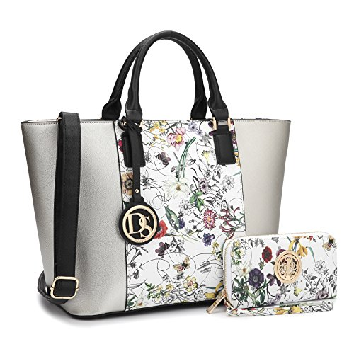 MMK collection Women Fashion Matching Satchel/ Tote handbags with walle(6417)t~Designer Purse with Wristlet (Designer Wallet Purse)