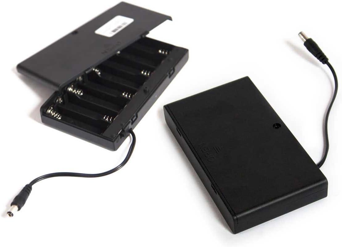 2 x Digislider 12 voltios 8 caja del soporte de batería AA con conector de CC de 2.1 mm x 5.5 mm y un interruptor de encendido / apagado | para CCTV, bricolaje, Arduinos, LED (8 AA DC - 2)