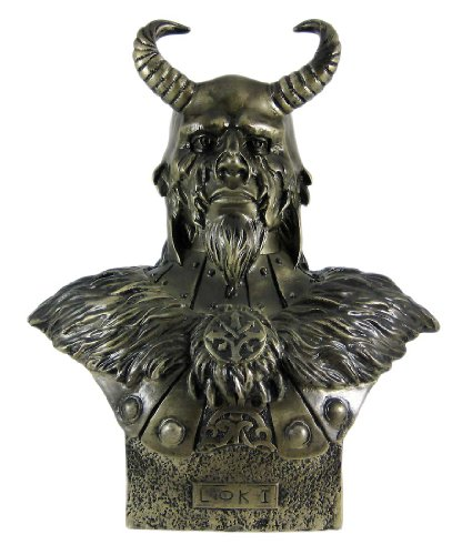 Make Greek God - 11 Inch Loki Armored God with Horns Head and Bust Statue Figurine