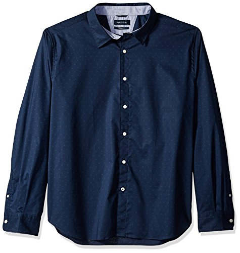 Nautica Men's Ls Wrinkle Resistant Stretch Poplin Print Button Down Shirt, Maritime Navy, XX-Large