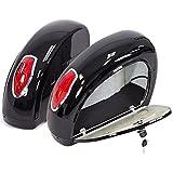 LN Motorcycle Hard Saddle Bag Trunk with Light for Harley Davidson Yamaha Touring