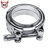 EVIL ENERGY 3 Inch Stainless Steel Exhaust V Band Clamp Mild Steel Flat Flange Assembly