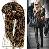 Smartele Star Favorite Coffee Oversized Leopard Scarf Pattern Animal Print Shawl Scarf Wrap with Free Gift Shawl Scarf Wrap for Women