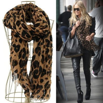 Price comparison product image Smartele Star Favorite Coffee Oversized Leopard Scarf Pattern Animal Print Shawl Scarf Wrap with Free Gift Shawl Scarf Wrap for Women