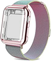 AdMaster Compatible for Apple Watch Band 38mm, Stainless Steel Mesh Milanese Sport Wristband Loop with Apple Watch Screen Protector Compatible for iWatch Series 1/2/3 Space Gray
