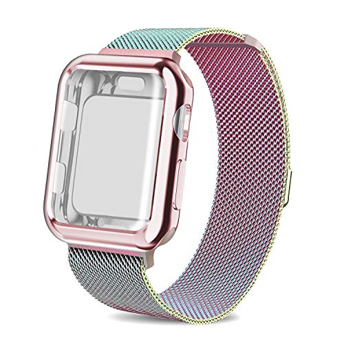 AdMaster Compatible for Apple Watch Band 42mm, Stainless Steel Mesh Milanese Sport Wristband Loop with Apple Watch Screen Protector Compatible for iWatch Series 1/2/3 Colorful