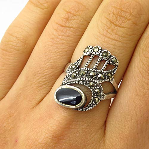 925 Sterling Silver Real Black Onyx & Marcasite Abstract Design Ring Size 6.5 Jewelry by Wholesale Charms